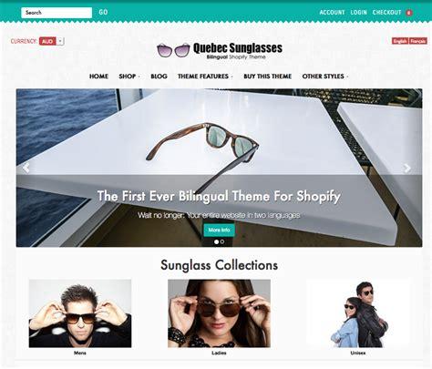 shopify themes multilingual new design bilingual shopify theme quebec sunglasses