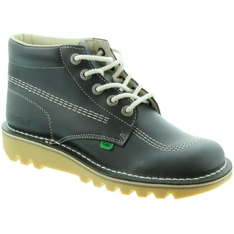 Kickers Pantofel Lather Original 02 kickers leather kick hi mens lace ankle boots in navy in navy