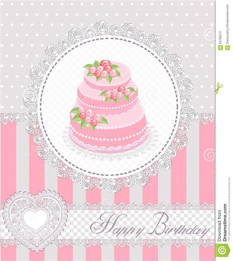birthday pattern pink vector happy birthday greeting card with cake and lace vector