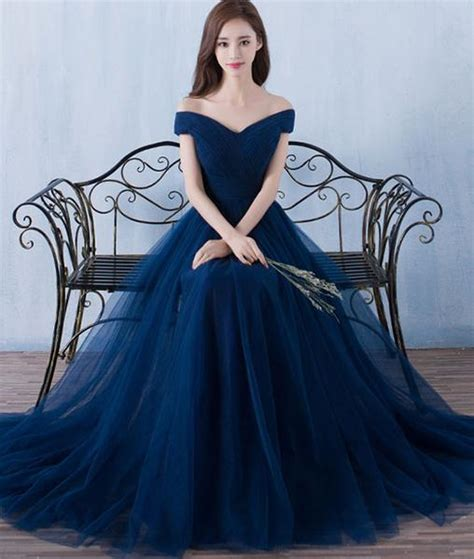 Marina Longdress Bisa Custom simple a line blue tulle prom for blue