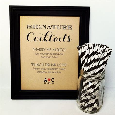 signature drink sign wedding cocktail bar by