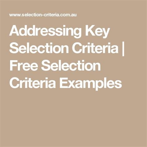 36 best images about selection criteria on pinterest