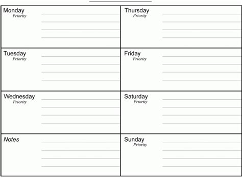 7 day calendar template free weekly time schedule template pdf excel word get