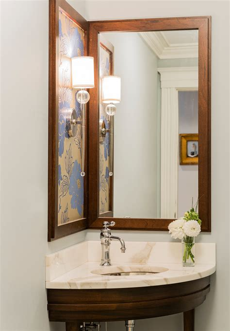 ideas for corner bathroom mirror pretty torchiere in powder room contemporary with wood