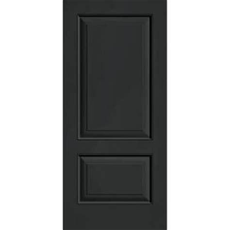 2 Panel Exterior Door Builder S Choice 36 In X 80 In Jet Black 2 Panel Flush Painted Fiberglass Prehung Front Door