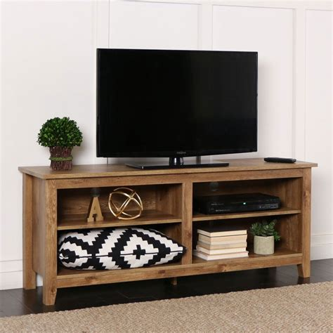 Open Shelf Tv Stand by Walker Edison Open Shelf 60 Inch Tv Stand Barnwood W58cspbw
