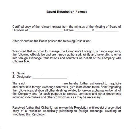 board resolution template sle board resolution 5 documents in pdf word