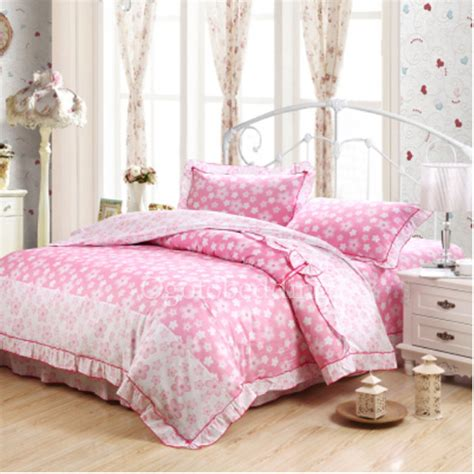 Pink Floral Cheap Discount King Comforter Sets For Girls