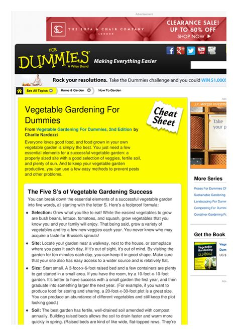 Vegetable Gardening For Dummies Cheat Sheet By Vegetable Gardening For Dummies