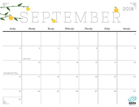printable calendar september 2017 to august 2018 september 2018 calendar cute yearly printable calendar