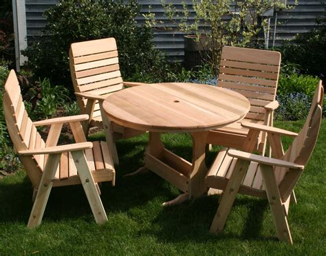 Small Round Outdoor Wooden Picnic Table With Umbrella Hole Small Outdoor Patio Table And Chairs