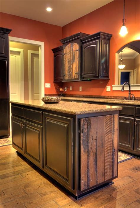Black Distressed Kitchen Cabinets Custom Barnwood Accented And Black Distressed Kitchen Cabinets House Decor Pinterest