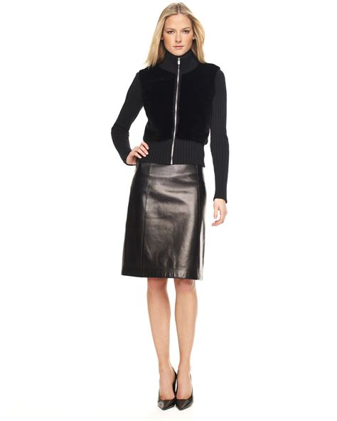 michael kors leather a line skirt in black lyst