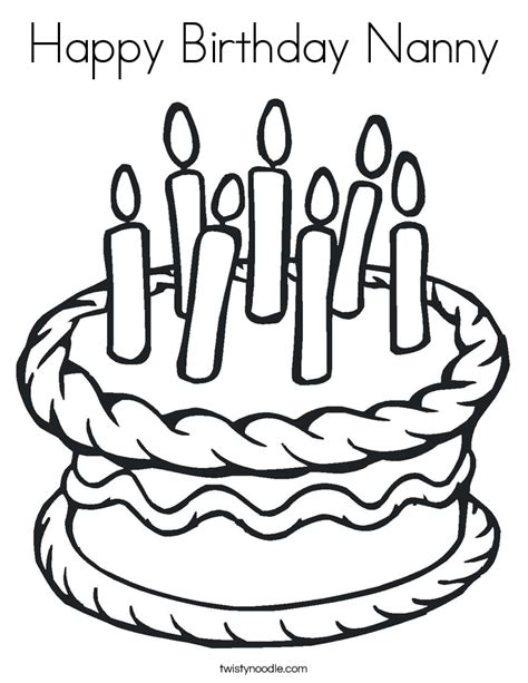 happy birthday nanny coloring pages happy birthday nanny coloring page twisty noodle