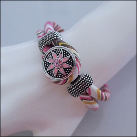 Snap Button Bracelet Pink zig zag snap button bracelet pink brown find something