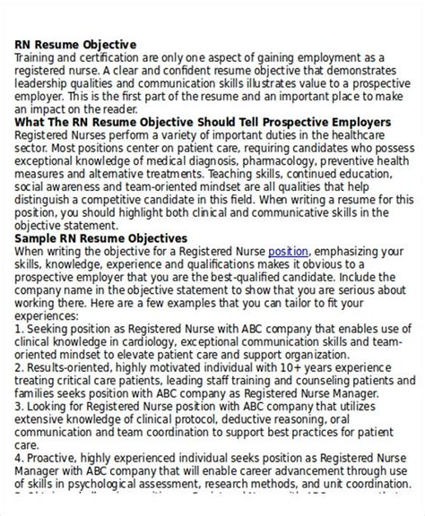 Rn Resume Objective by 10 Sle Registered Resumes Sle Templates