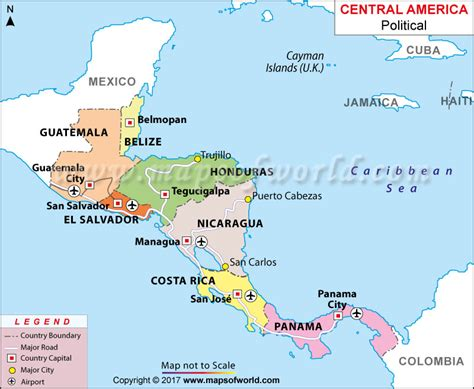 map of central america with major cities map of central america