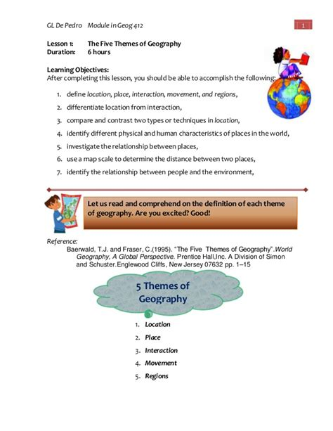 5 themes of geography tagalog module in geog 412 geography and natural resources of the