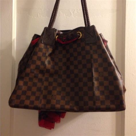 louis vuitton inspired lv large brown purse with scarf