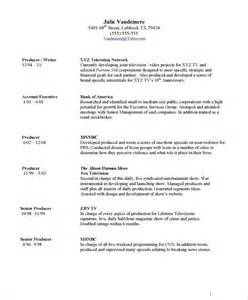 Show Resume Exles by Tv Producer Free Resume Sles Blue Sky Resumes