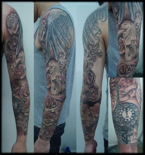 mens sleeve tattoo designs black and grey custom black and grey sleeve roses japan merlion