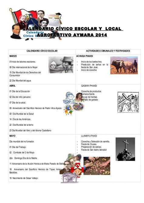Calendario Civico Escolar Calendario Civico Escolar Y Comunal 2014