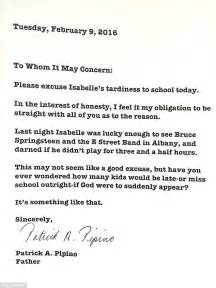Excuse Letter Due To Bad Weather Writes School Note Blaming S Lateness On A Bruce Springsteen Concert Daily Mail