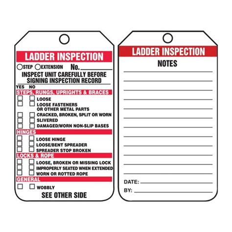 ladder inspection checklist safety tag