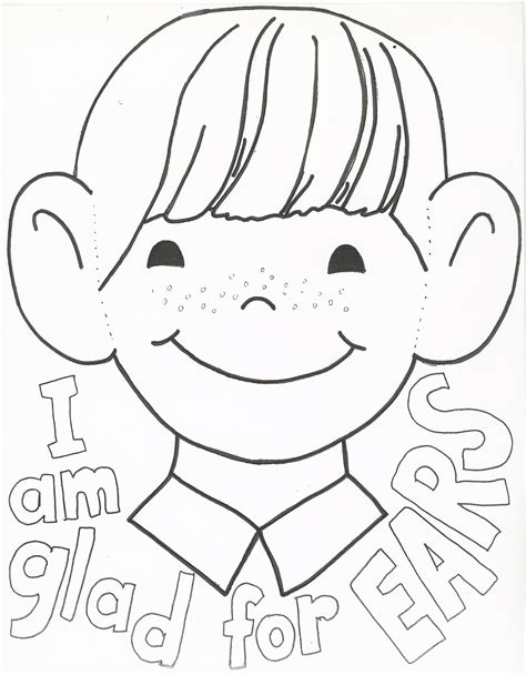coloring page ear i am thankful for my ears coloring page pinteres