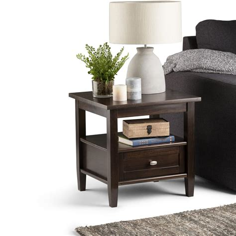 simpli home warm shaker end table honey brown price tracking