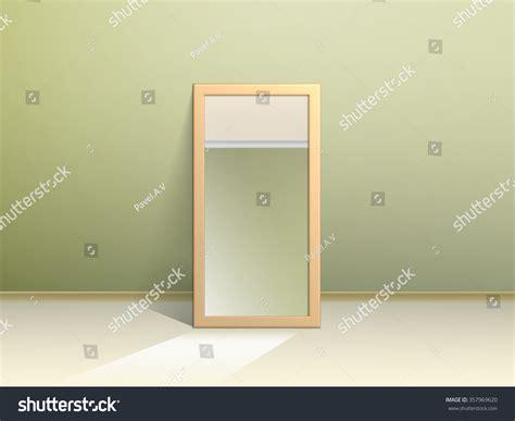 mirror on floor reflects opposite wall stock vector