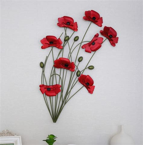hand making home decoration modern home decoration metal wall art hand made red poppy