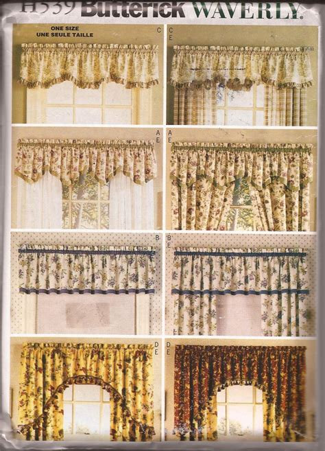 Waverly Patterns Curtains Butterick H539 2002 Waverly Valances Drapes Curtain Pattern