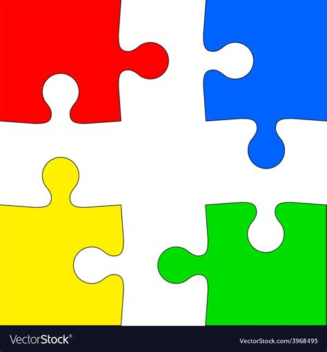 colorful puzzle pieces four colored puzzle pieces on white background vector image