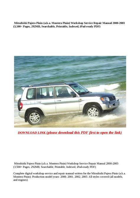 mitsubishi montero 2003 service repair manual pdf download downlo mitsubishi pajero pinin a k a montero pinin workshop service repair manual 2000 2003 3 500