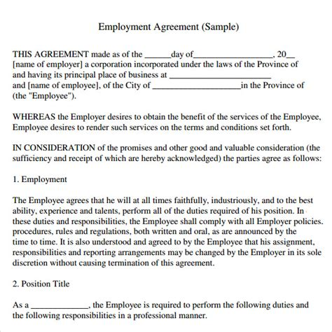 agreement between employer and employee template sle employment agreement 5 free documents