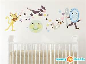 nursery rhymes wall stickers nursery rhyme fabric wall decal hey diddle diddle the cat