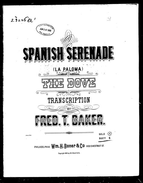 spanish serenade spanish serenade la paloma the dove sheet music