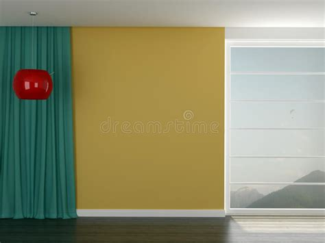 yellow walls red curtains room with a bright yellow wall royalty free stock