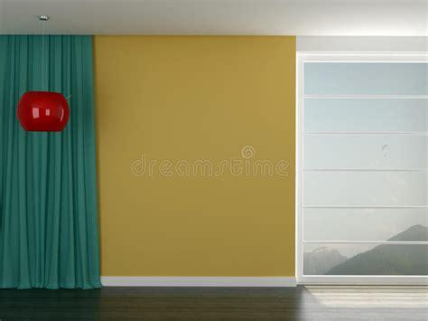 rode doorzichtige gordijnen zaal met een heldere gele muur stock illustratie