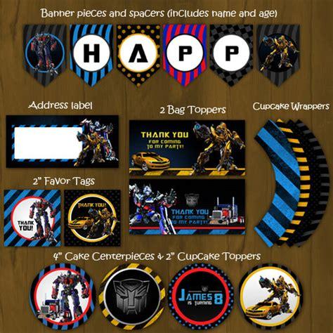 printable transformers birthday banner transformers printable birthday party by splashboxprintables