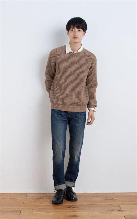 Denim Shirt X Sweater muji reclaimed wool mixed rib knitted sweater organic cotton broad washed shirt organic