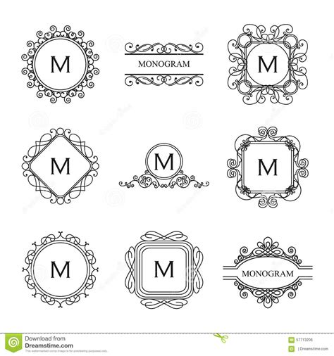 Wedding Font Outline by Set Of Outline Monograms And Logo Design Templates Stock