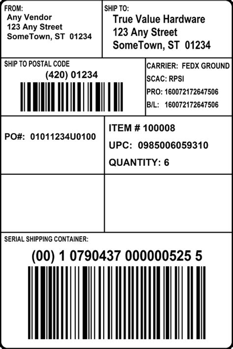 Gs1 128 Label Template Printable Label Templates Pallet Tag Template