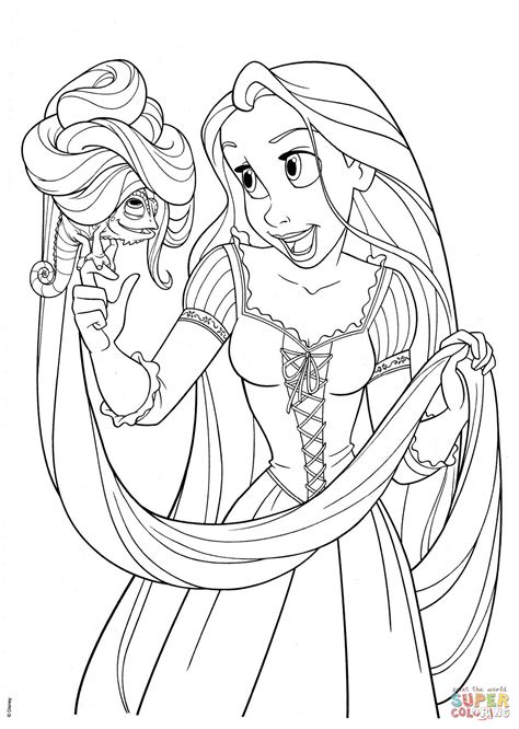 coloring page of rapunzel rapunzel with pascal coloring page free printable