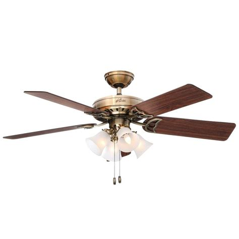 Brass Ceiling Fan With Light Studio Series 52 In Indoor Antique Brass Ceiling Fan With Light Kit 53063 The Home Depot