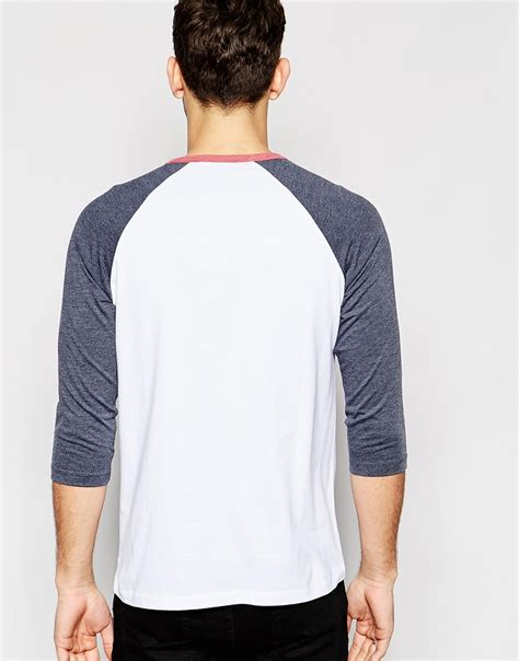 3 4 Sleeve Contrast Trim Shirt asos 3 4 sleeve t shirt with contrast raglan sleeves with
