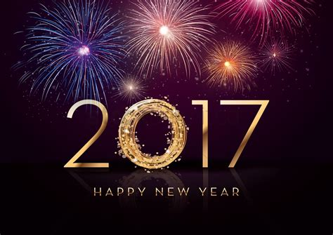 new year greeting 2017 happy new year greeting vector image 1940328