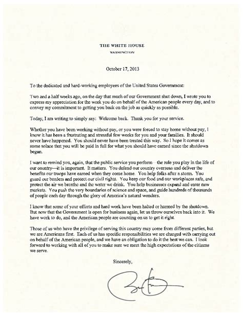 application letter as government employee letter from president obama to federal employees on the