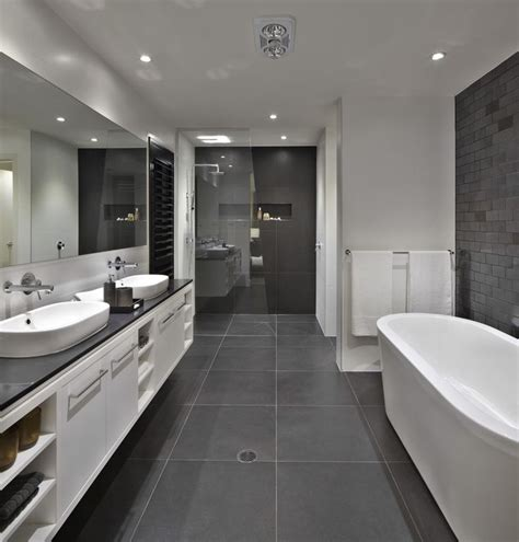 black and grey bathroom bathroom floor to roof charcoal tiles with a black